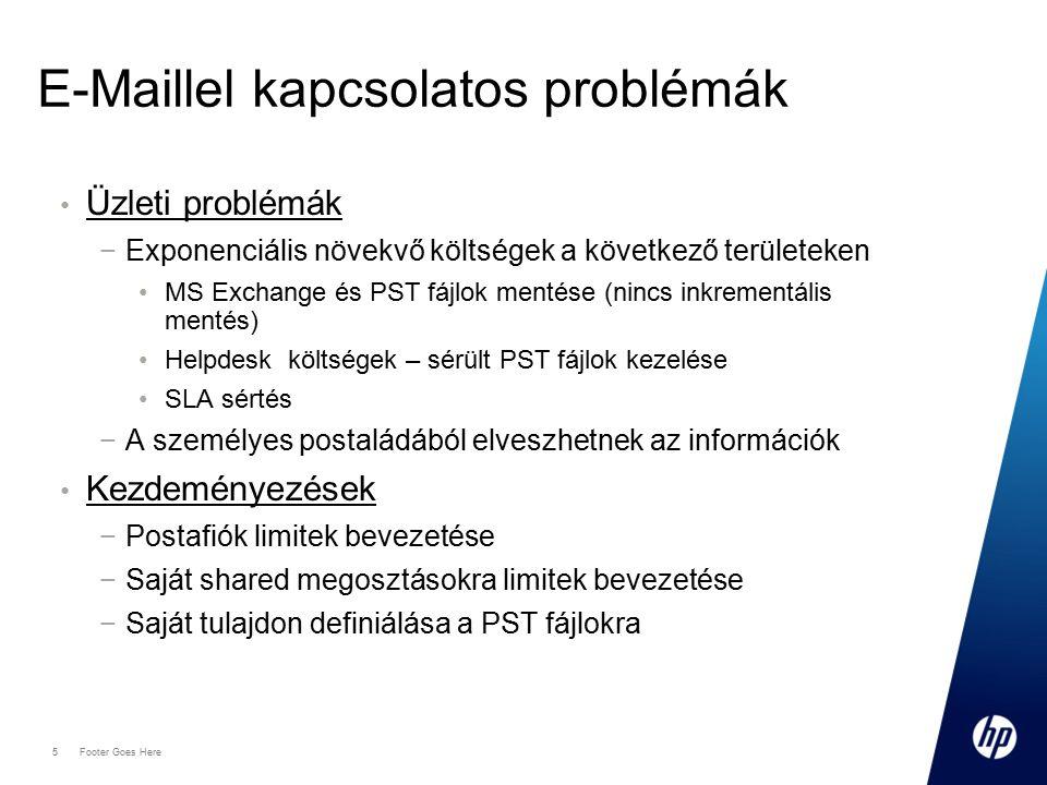 5 Footer Goes Here E-Maillel kapcsolatos problémák Üzleti problémák −Exponenciális növekvő költségek a következő területeken MS Exchange és PST fájlok