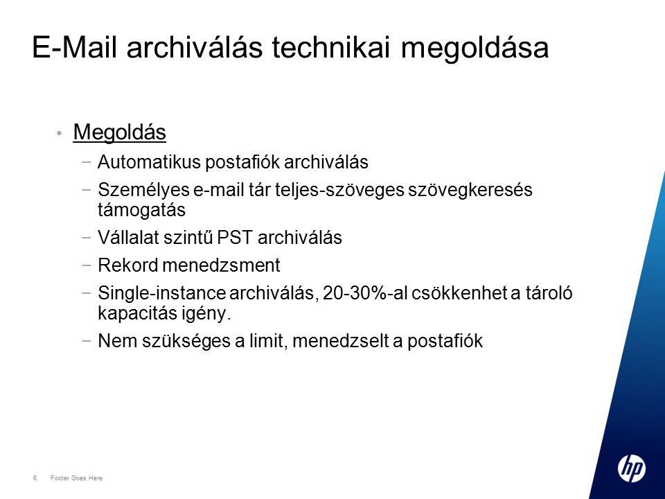 6 Footer Goes Here E-Mail archiválás technikai megoldása Megoldás −Automatikus postafiók archiválás −Személyes e-mail tár teljes-szöveges szövegkeresés támogatás −Vállalat szintű PST archiválás −Rekord menedzsment −Single-instance archiválás, 20-30%-al csökkenhet a tároló kapacitás igény.
