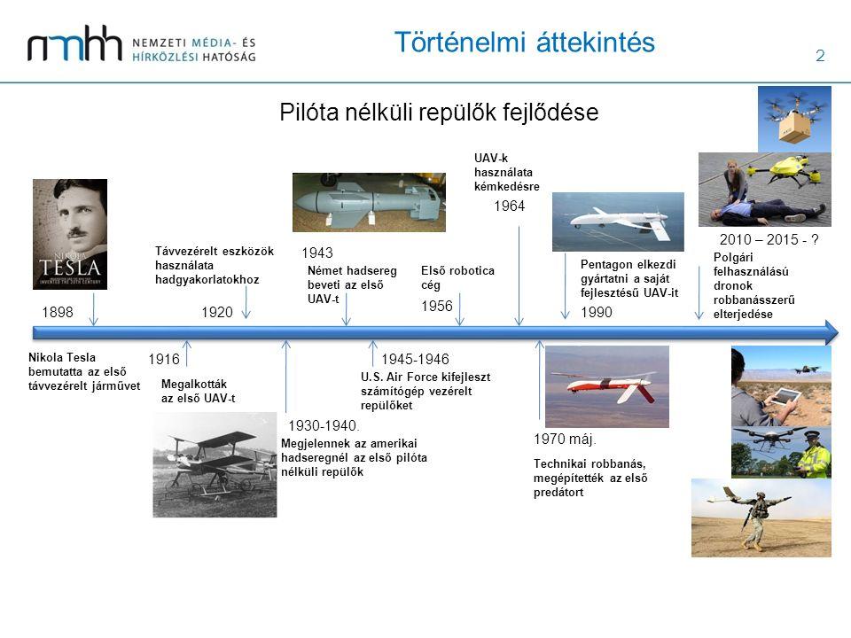 2 Történelmi áttekintés Pilóta nélküli repülők fejlődése 1898 Nikola Tesla bemutatta az első távvezérelt járművet 1916 Megalkották az első UAV-t 1920 Távvezérelt eszközök használata hadgyakorlatokhoz 1930-1940.