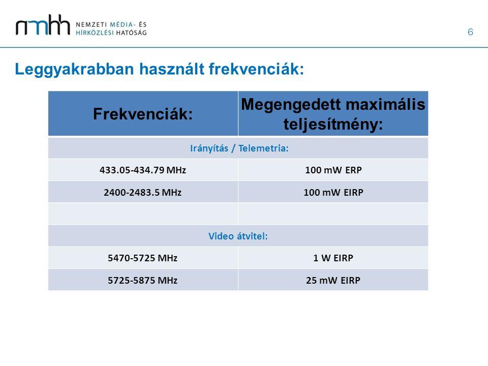 6 Leggyakrabban használt frekvenciák: Frekvenciák: Megengedett maximális teljesítmény: Irányítás / Telemetria: 433.05-434.79 MHz100 mW ERP 2400-2483.5 MHz100 mW EIRP Video átvitel: 5470-5725 MHz1 W EIRP 5725-5875 MHz25 mW EIRP