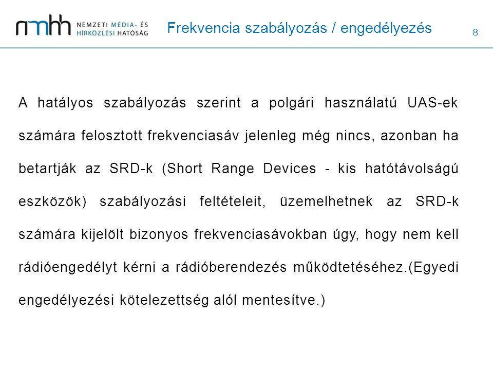8 Frekvencia szabályozás / engedélyezés A hatályos szabályozás szerint a polgári használatú UAS-ek számára felosztott frekvenciasáv jelenleg még nincs, azonban ha betartják az SRD-k (Short Range Devices - kis hatótávolságú eszközök) szabályozási feltételeit, üzemelhetnek az SRD-k számára kijelölt bizonyos frekvenciasávokban úgy, hogy nem kell rádióengedélyt kérni a rádióberendezés működtetéséhez.(Egyedi engedélyezési kötelezettség alól mentesítve.)