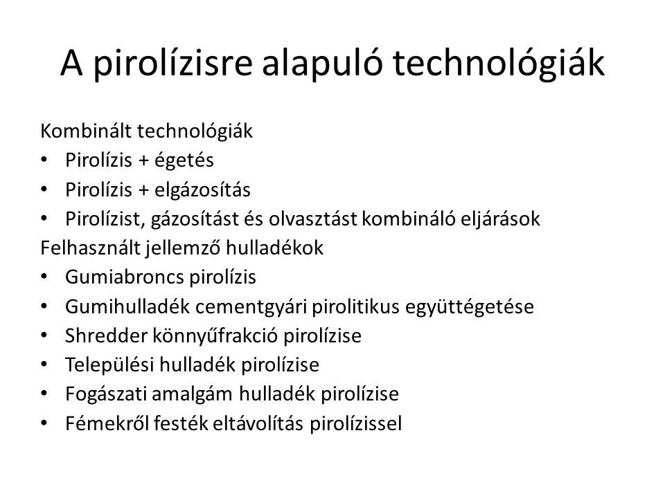 A pirolízisre alapuló technológiák Kombinált technológiák Pirolízis + égetés Pirolízis + elgázosítás Pirolízist, gázosítást és olvasztást kombináló el