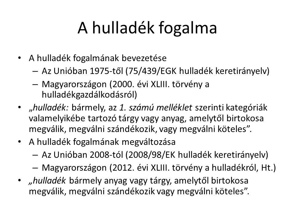 A hulladék fogalma A hulladék fogalmának bevezetése – Az Unióban 1975-től (75/439/EGK hulladék keretirányelv) – Magyarországon (2000. évi XLIII. törvé