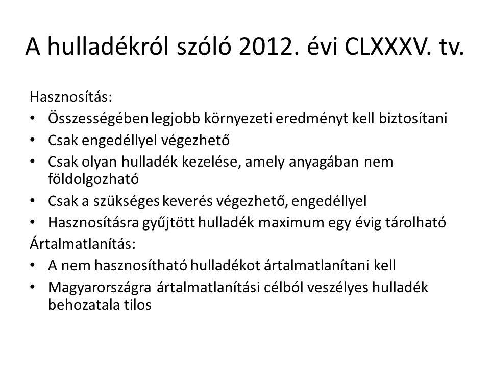 A hulladékról szóló 2012. évi CLXXXV. tv. Hasznosítás: Összességében legjobb környezeti eredményt kell biztosítani Csak engedéllyel végezhető Csak oly