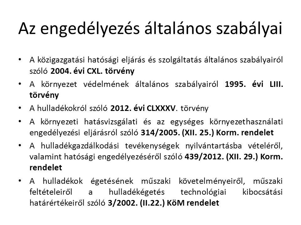 Az engedélyezés általános szabályai A közigazgatási hatósági eljárás és szolgáltatás általános szabályairól szóló 2004. évi CXL. törvény A környezet v