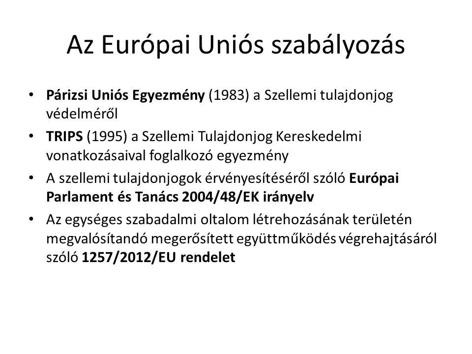 Az Európai Uniós szabályozás Párizsi Uniós Egyezmény (1983) a Szellemi tulajdonjog védelméről TRIPS (1995) a Szellemi Tulajdonjog Kereskedelmi vonatko
