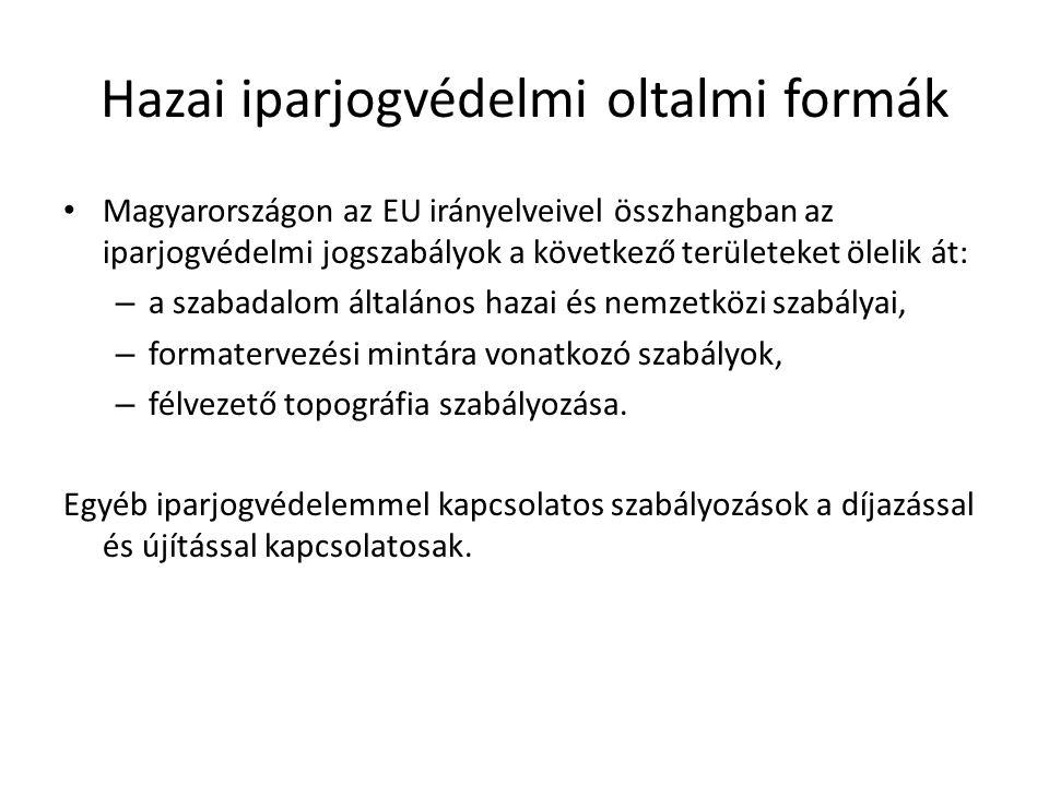 Hazai iparjogvédelmi oltalmi formák Magyarországon az EU irányelveivel összhangban az iparjogvédelmi jogszabályok a következő területeket ölelik át: –