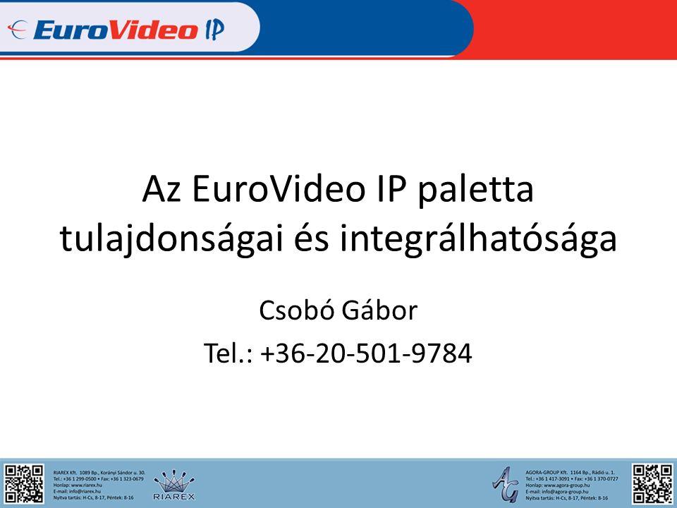 Az EuroVideo IP paletta tulajdonságai és integrálhatósága Csobó Gábor Tel.: +36-20-501-9784