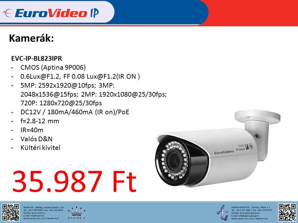 Kamerák: EVC-IP-BL823IPR -CMOS (Aptina 9P006) -0.6Lux@F1.2, FF 0.08 Lux@F1.2(IR ON ) -5MP: 2592x1920@10fps; 3MP: 2048x1536@15fps; 2MP: 1920x1080@25/30fps; 720P: 1280x720@25/30fps -DC12V / 180mA/460mA (IR on)/PoE -f=2.8-12 mm -IR=40m -Valós D&N -Kültéri kivitel 35.987 Ft