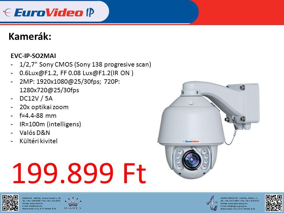 Kamerák: EVC-IP-SO2MAI -1/2,7 Sony CMOS (Sony 138 progresive scan) -0.6Lux@F1.2, FF 0.08 Lux@F1.2(IR ON ) -2MP: 1920x1080@25/30fps; 720P: 1280x720@25/30fps -DC12V / 5A -20x optikai zoom -f=4.4-88 mm -IR=100m (intelligens) -Valós D&N -Kültéri kivitel 199.899 Ft
