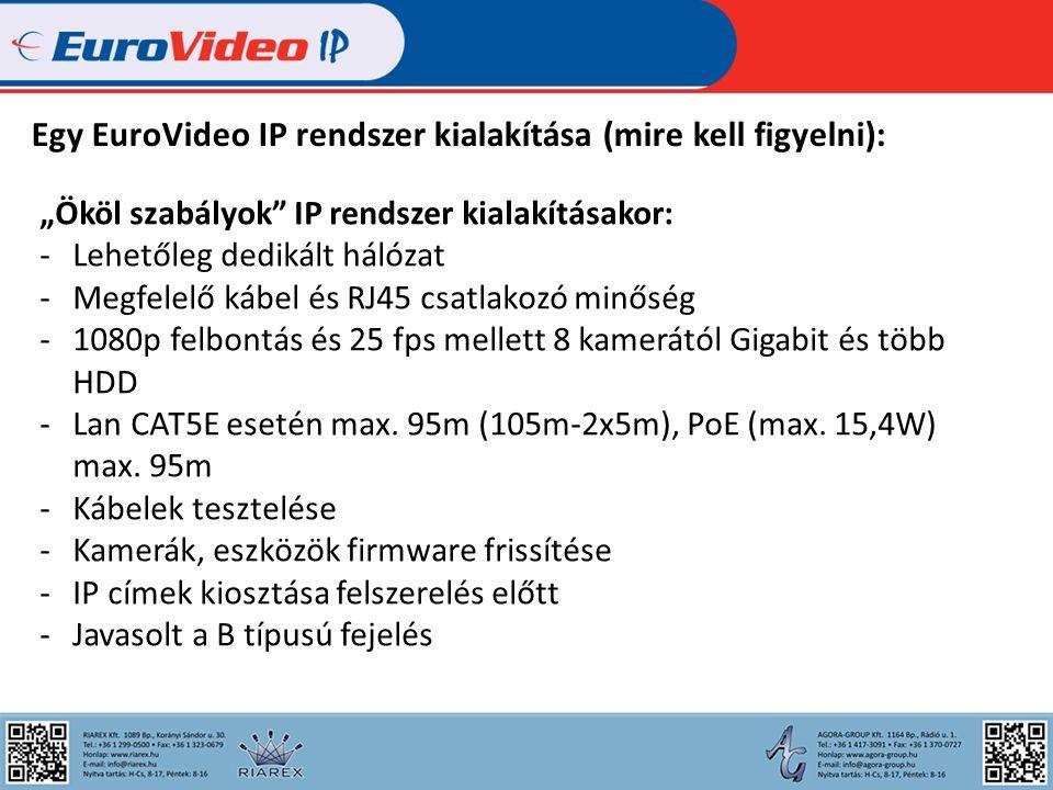 """Egy EuroVideo IP rendszer kialakítása (mire kell figyelni): """"Ököl szabályok IP rendszer kialakításakor: -Lehetőleg dedikált hálózat -Megfelelő kábel és RJ45 csatlakozó minőség -1080p felbontás és 25 fps mellett 8 kamerától Gigabit és több HDD -Lan CAT5E esetén max."""