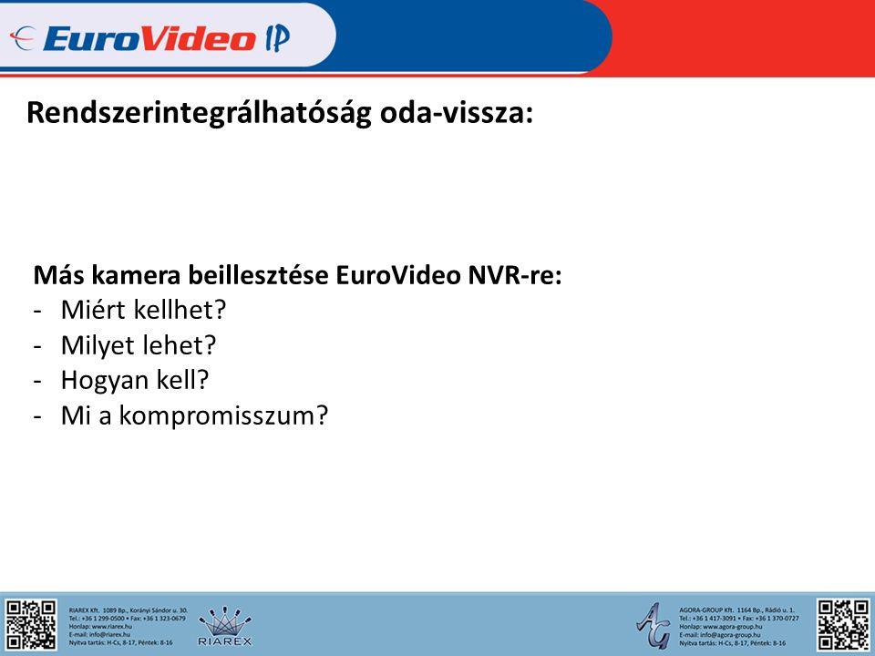 Rendszerintegrálhatóság oda-vissza: Más kamera beillesztése EuroVideo NVR-re: -Miért kellhet.
