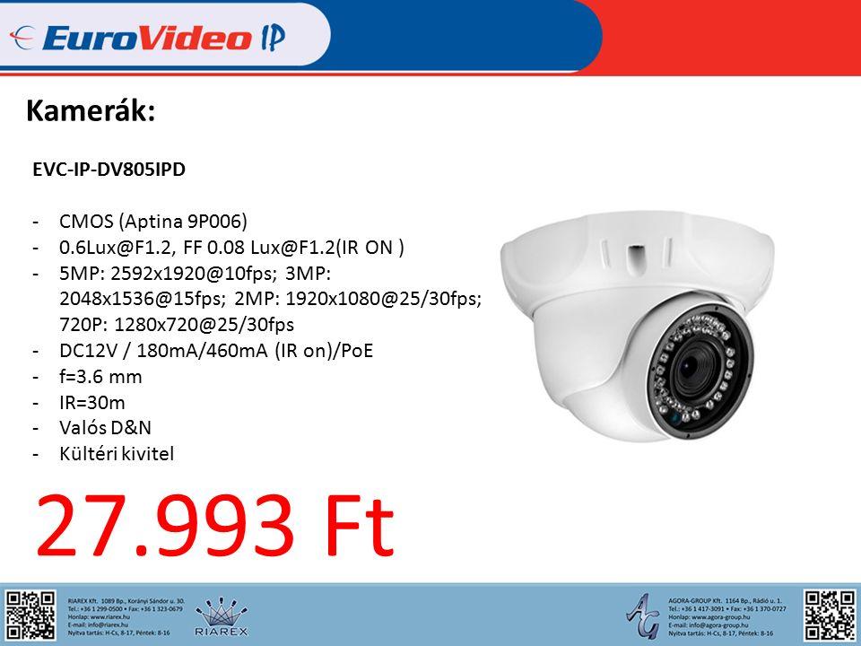 Kamerák: EVC-IP-DV805IPD -CMOS (Aptina 9P006) -0.6Lux@F1.2, FF 0.08 Lux@F1.2(IR ON ) -5MP: 2592x1920@10fps; 3MP: 2048x1536@15fps; 2MP: 1920x1080@25/30fps; 720P: 1280x720@25/30fps -DC12V / 180mA/460mA (IR on)/PoE -f=3.6 mm -IR=30m -Valós D&N -Kültéri kivitel 27.993 Ft