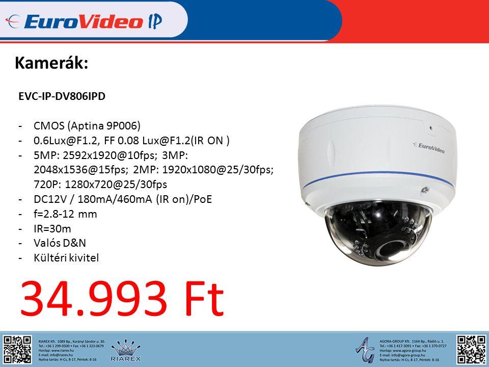 Kamerák: EVC-IP-DV806IPD -CMOS (Aptina 9P006) -0.6Lux@F1.2, FF 0.08 Lux@F1.2(IR ON ) -5MP: 2592x1920@10fps; 3MP: 2048x1536@15fps; 2MP: 1920x1080@25/30fps; 720P: 1280x720@25/30fps -DC12V / 180mA/460mA (IR on)/PoE -f=2.8-12 mm -IR=30m -Valós D&N -Kültéri kivitel 34.993 Ft