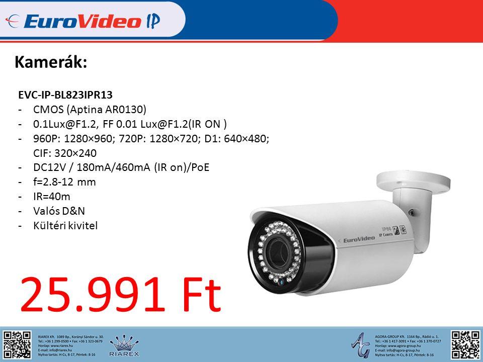 Kamerák: EVC-IP-BL823IPR13 -CMOS (Aptina AR0130) -0.1Lux@F1.2, FF 0.01 Lux@F1.2(IR ON ) -960P: 1280×960; 720P: 1280×720; D1: 640×480; CIF: 320×240 -DC12V / 180mA/460mA (IR on)/PoE -f=2.8-12 mm -IR=40m -Valós D&N -Kültéri kivitel 25.991 Ft