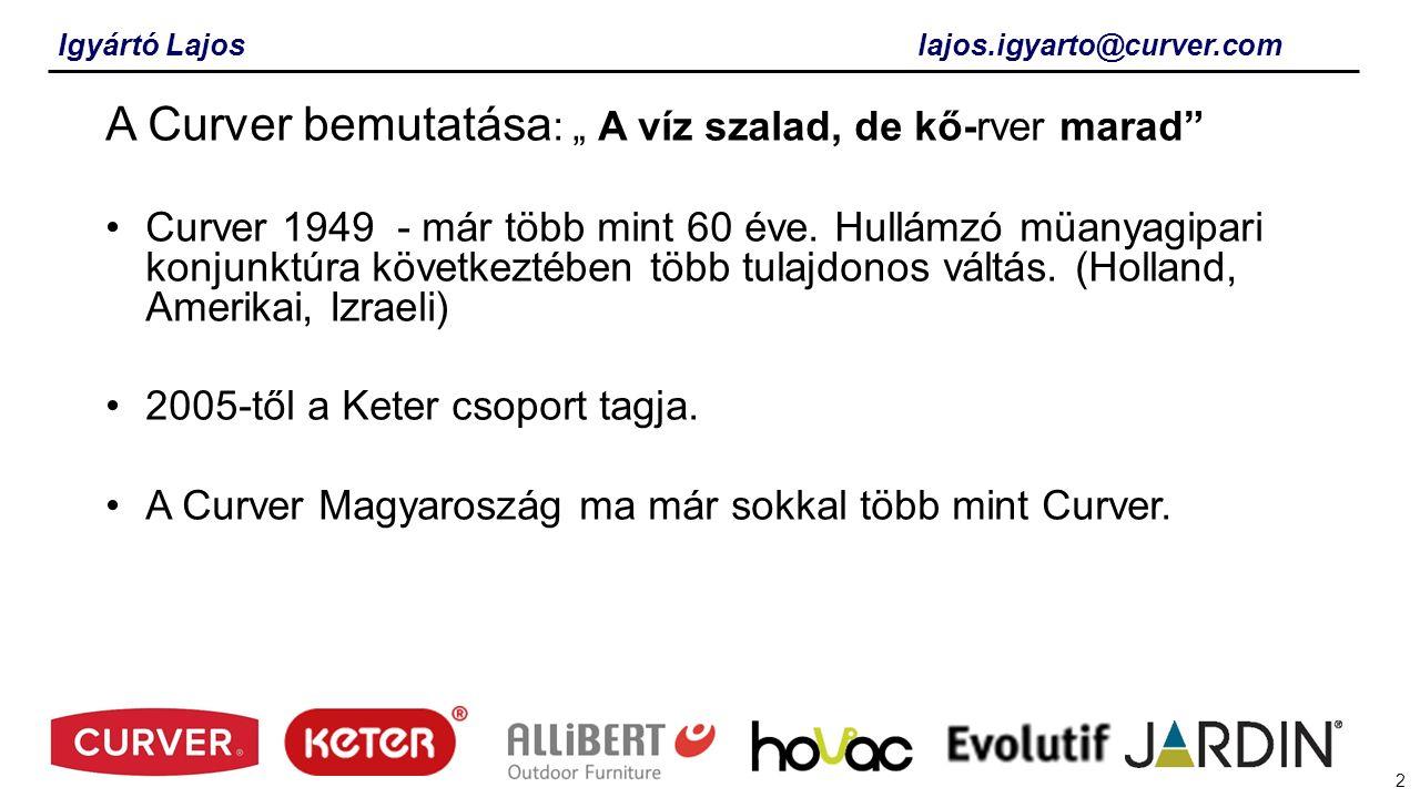 3 A Curver bemutatása: Folyamatos integráció a Keter csoport tagjaként Földrajzi régiók alampján történő piac felosztás.