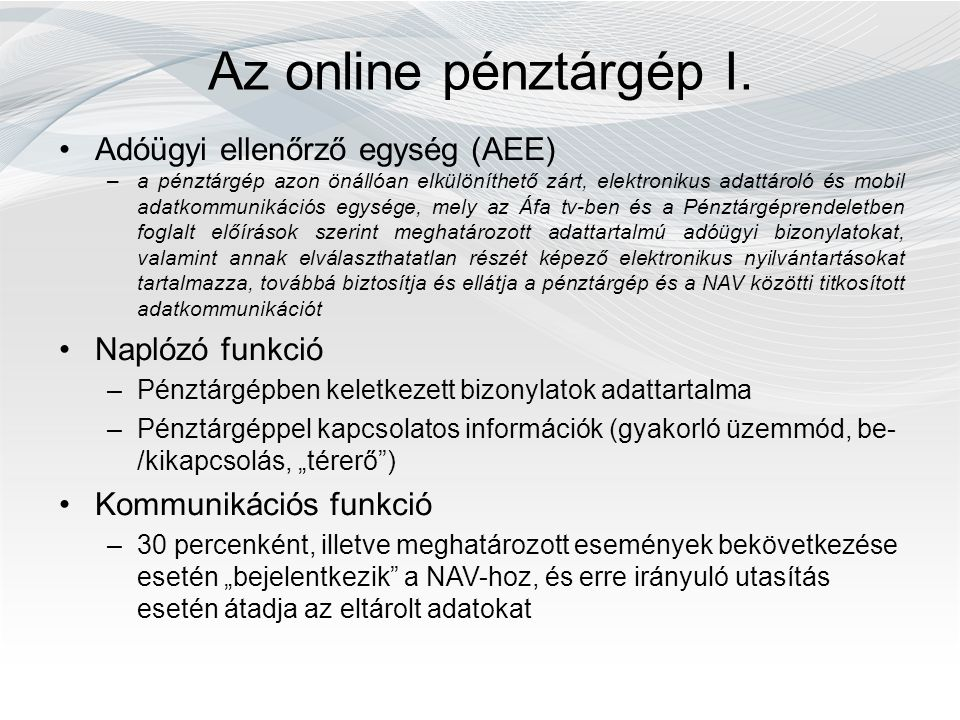 Az online pénztárgép I.