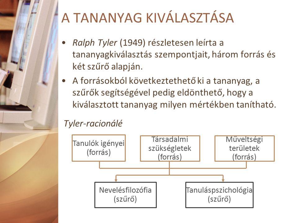 Ralph Tyler (1949) részletesen leírta a tananyagkiválasztás szempontjait, három forrás és két szűrő alapján.