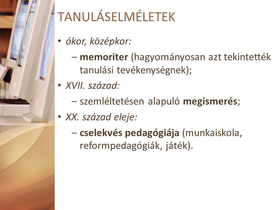 TANULÁSELMÉLETEK ókor, középkor: ‒memoriter (hagyományosan azt tekintették tanulási tevékenységnek); XVII.
