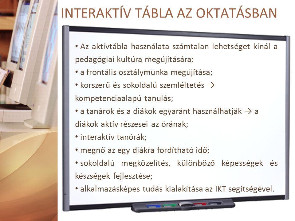 Az aktívtábla használata számtalan lehetséget kínál a pedagógiai kultúra megújítására: a frontális osztálymunka megújítása; korszerű és sokoldalú szemléltetés → kompetenciaalapú tanulás; a tanárok és a diákok egyaránt használhatják → a diákok aktív részesei az órának; interaktív tanórák; megnő az egy diákra fordítható idő; sokoldalú megközelítés, különböző képességek és készségek fejlesztése; alkalmazásképes tudás kialakítása az IKT segítségével.