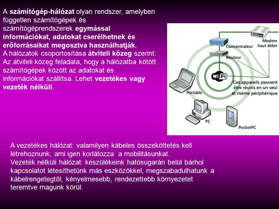 A számítógép-hálózat olyan rendszer, amelyben független számítógépek és számítógéprendszerek egymással információkat, adatokat cserélhetnek és erőforr