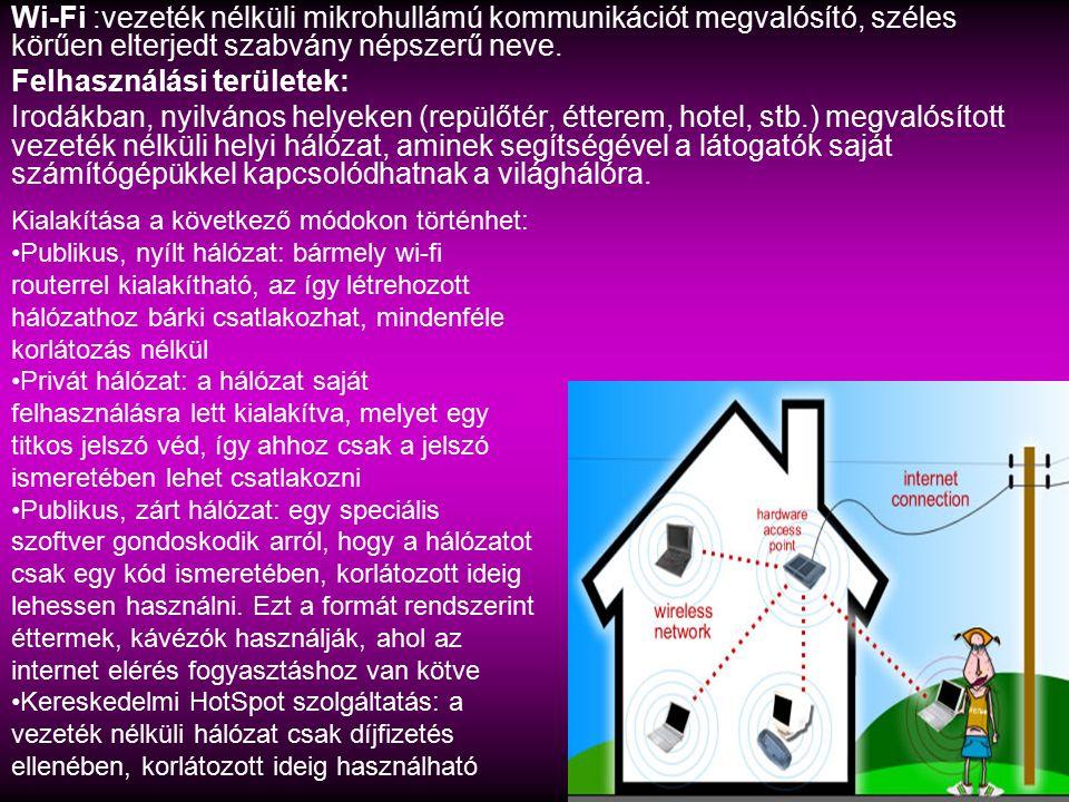 Wi-Fi :vezeték nélküli mikrohullámú kommunikációt megvalósító, széles körűen elterjedt szabvány népszerű neve. Felhasználási területek: Irodákban, nyi