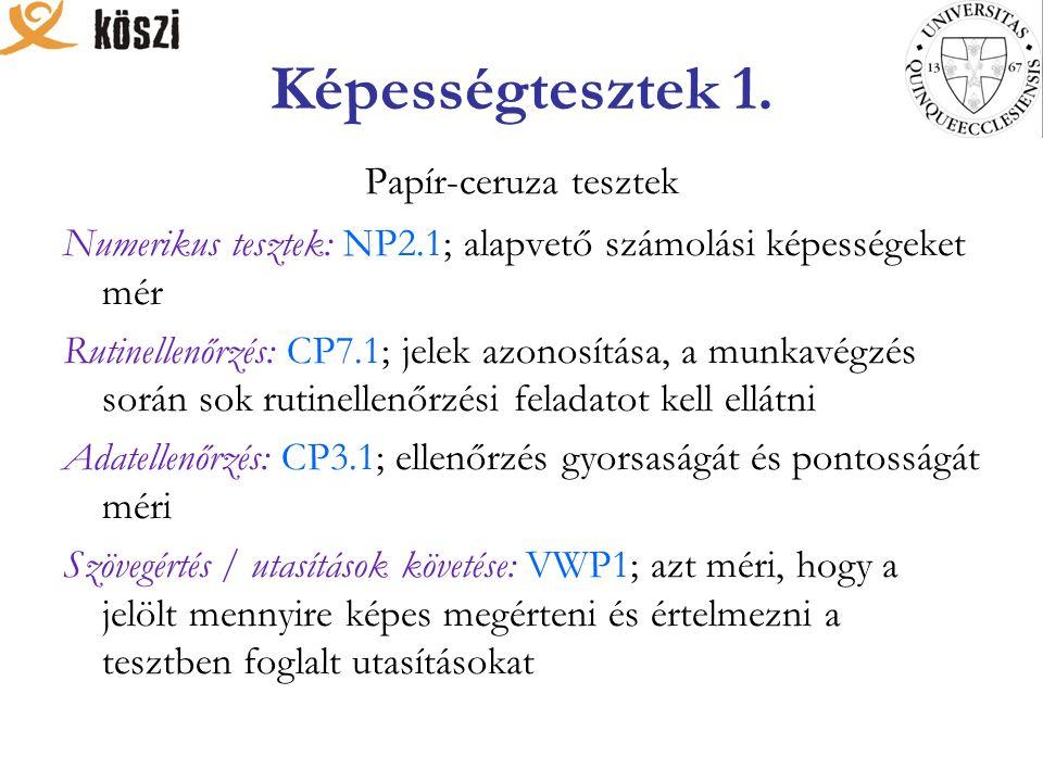 Képességtesztek 2.NMG 1/NMG 2004: numerikus készségek mérésére használják.
