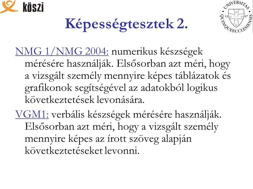 Képességtesztek 2. NMG 1/NMG 2004: numerikus készségek mérésére használják.