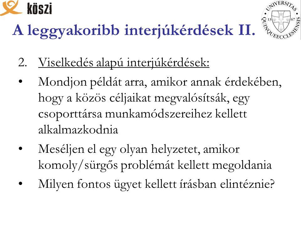 A leggyakoribb interjúkérdések II.