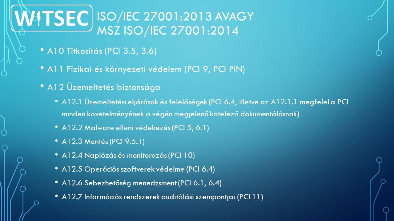 ISO/IEC 27001:2013 AVAGY MSZ ISO/IEC 27001:2014 A10 Titkosítás (PCI 3.5, 3.6) A11 Fizikai és környezeti védelem (PCI 9, PCI PIN) A12 Üzemeltetés biztonsága A12.1 Üzemeltetési eljárások és felelőségek (PCI 6.4, illetve az A12.1.1 megfelel a PCI minden követelményének a végén megjelenő kötelező dokumentálásnak) A12.2 Malware elleni védekezés (PCI 5, 6.1) A12.3 Mentés (PCI 9.5.1) A12.4 Naplózás és monitorozás (PCI 10) A12.5 Operációs szoftverek védelme (PCI 6.4) A12.6 Sebezhetőség menedzsment (PCI 6.1, 6.4) A12.7 Információs rendszerek auditálási szempontjai (PCI 11)