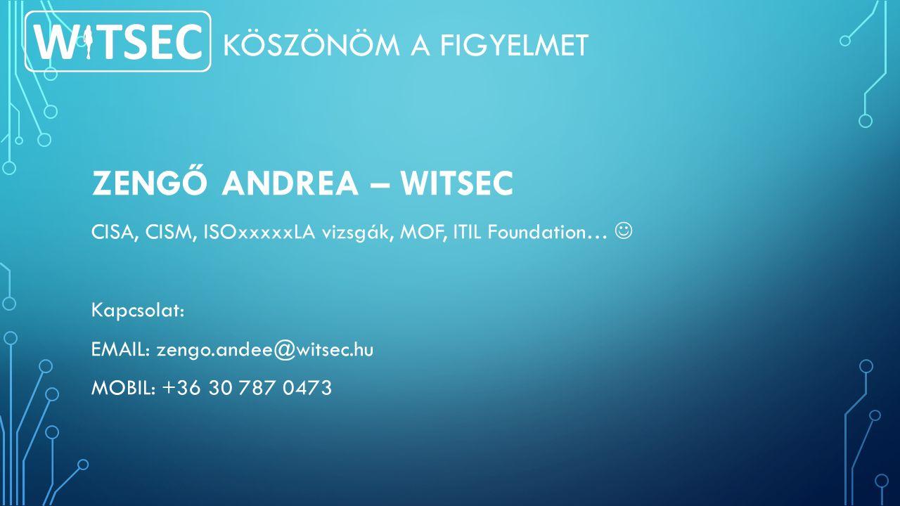 KÖSZÖNÖM A FIGYELMET ZENGŐ ANDREA – WITSEC CISA, CISM, ISOxxxxxLA vizsgák, MOF, ITIL Foundation… Kapcsolat: EMAIL: zengo.andee@witsec.hu MOBIL: +36 30 787 0473