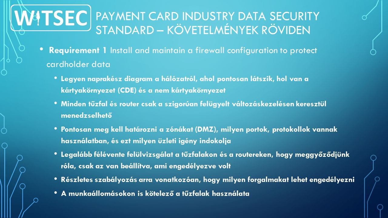 PAYMENT CARD INDUSTRY DATA SECURITY STANDARD – KÖVETELMÉNYEK RÖVIDEN Requirement 1 Install and maintain a firewall configuration to protect cardholder
