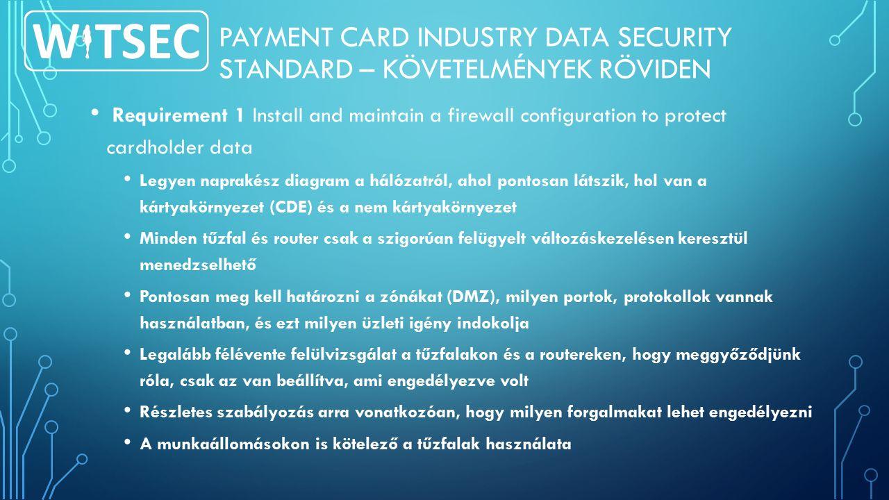 PAYMENT CARD INDUSTRY DATA SECURITY STANDARD – KÖVETELMÉNYEK RÖVIDEN Requirement 1 Install and maintain a firewall configuration to protect cardholder data Legyen naprakész diagram a hálózatról, ahol pontosan látszik, hol van a kártyakörnyezet (CDE) és a nem kártyakörnyezet Minden tűzfal és router csak a szigorúan felügyelt változáskezelésen keresztül menedzselhető Pontosan meg kell határozni a zónákat (DMZ), milyen portok, protokollok vannak használatban, és ezt milyen üzleti igény indokolja Legalább félévente felülvizsgálat a tűzfalakon és a routereken, hogy meggyőződjünk róla, csak az van beállítva, ami engedélyezve volt Részletes szabályozás arra vonatkozóan, hogy milyen forgalmakat lehet engedélyezni A munkaállomásokon is kötelező a tűzfalak használata