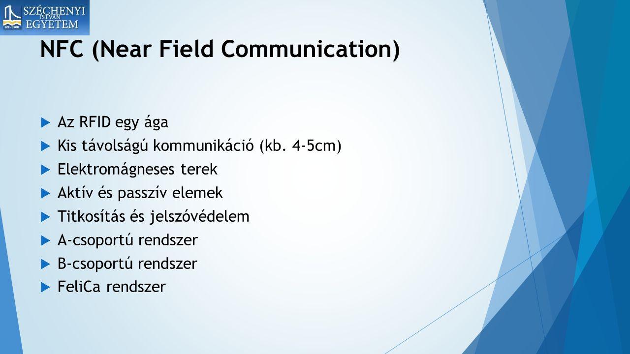 NFC (Near Field Communication)  Az RFID egy ága  Kis távolságú kommunikáció (kb.