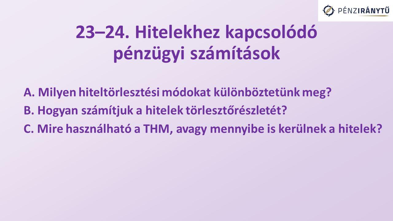 23–24. Hitelekhez kapcsolódó pénzügyi számítások A.