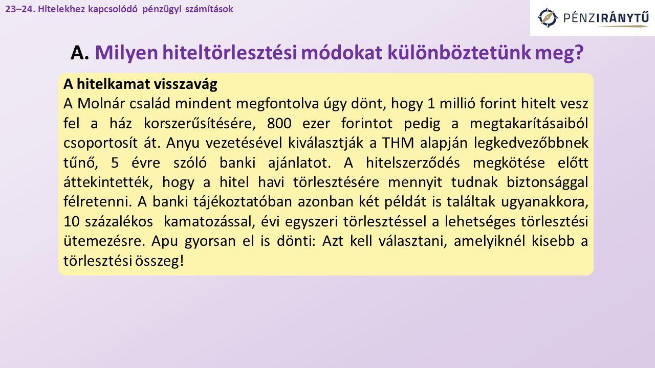 A hitelkamat visszavág A Molnár család mindent megfontolva úgy dönt, hogy 1 millió forint hitelt vesz fel a ház korszerűsítésére, 800 ezer forintot pedig a megtakarításaiból csoportosít át.