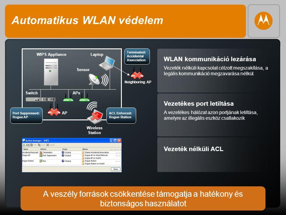 9 Automatikus WLAN védelem WLAN kommunikáció lezárása Vezeték nélküli kapcsolat célzott megszakítása, a legális kommunikáció megzavarása nélkül.