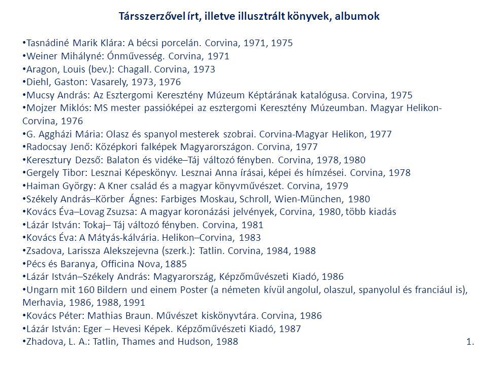 Társszerzővel írt, illetve illusztrált könyvek, albumok Tasnádiné Marik Klára: A bécsi porcelán.