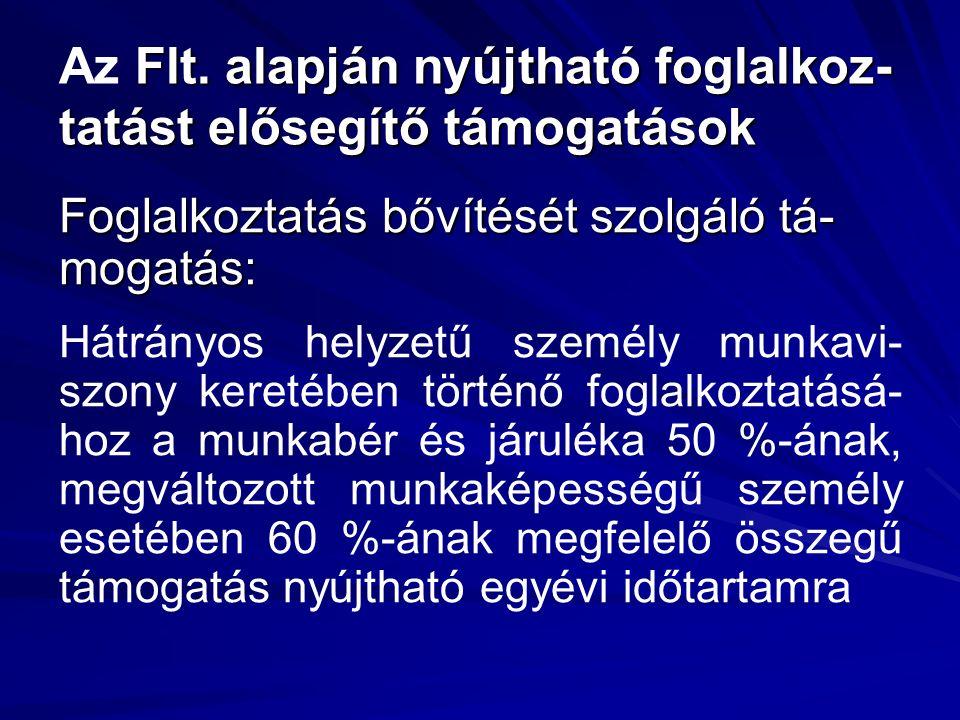 Flt. alapján nyújtható foglalkoz- tatást elősegítő támogatások Az Flt.