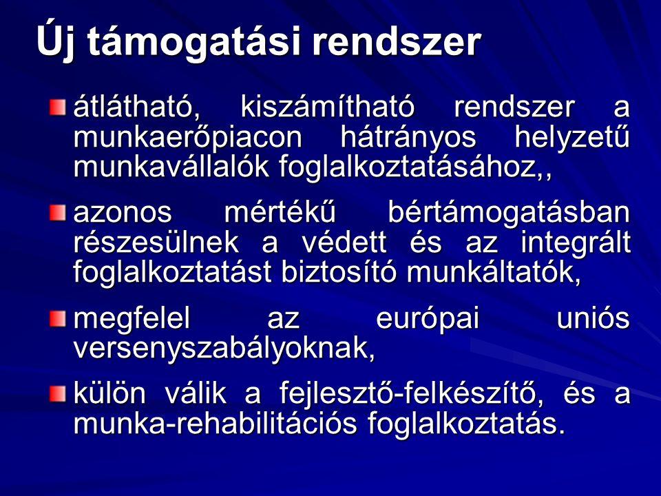 Új támogatási rendszer átlátható, kiszámítható rendszer a munkaerőpiacon hátrányos helyzetű munkavállalók foglalkoztatásához,, azonos mértékű bértámogatásban részesülnek a védett és az integrált foglalkoztatást biztosító munkáltatók, megfelel az európai uniós versenyszabályoknak, külön válik a fejlesztő-felkészítő, és a munka-rehabilitációs foglalkoztatás.