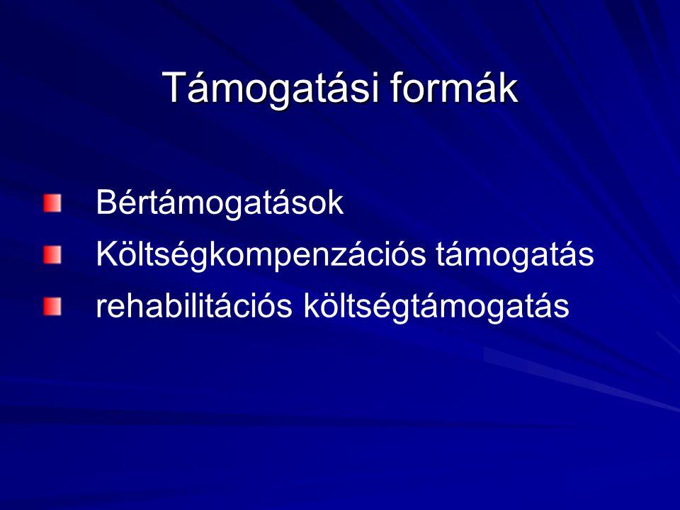 Támogatási formák Bértámogatások Költségkompenzációs támogatás rehabilitációs költségtámogatás