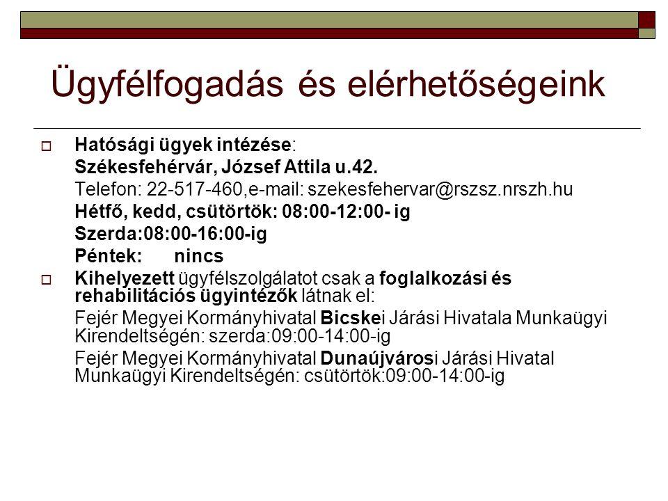 Ügyfélfogadás és elérhetőségeink  Hatósági ügyek intézése: Székesfehérvár, József Attila u.42.