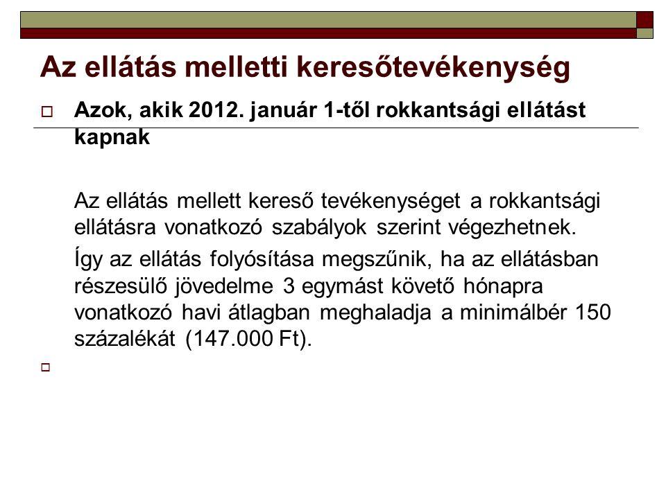 Az ellátás melletti keresőtevékenység  Azok, akik 2012.