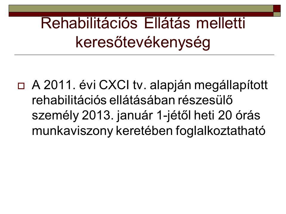 Rehabilitációs Ellátás melletti keresőtevékenység  A 2011.