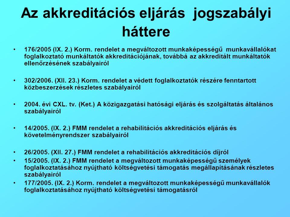 Az akkreditációs eljárás jogszabályi háttere 176/2005 (IX. 2.) Korm. rendelet a megváltozott munkaképességű munkavállalókat foglalkoztató munkáltatók