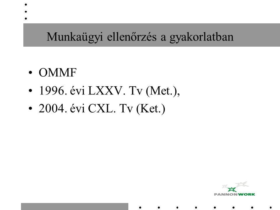 OMMF 1996. évi LXXV. Tv (Met.), 2004. évi CXL. Tv (Ket.)