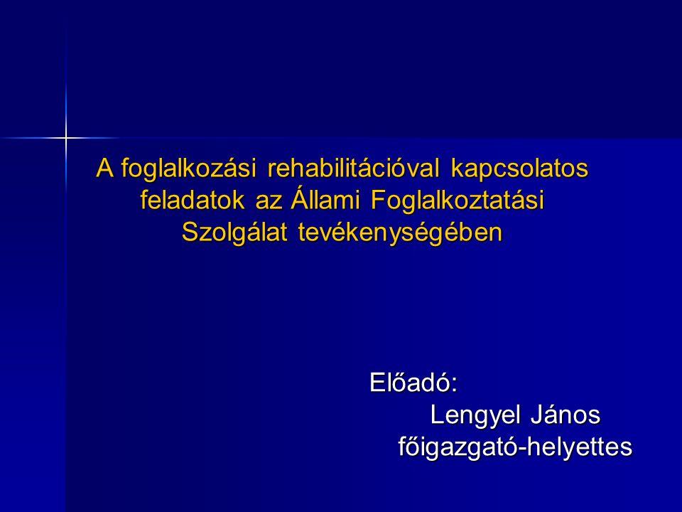 A foglalkozási rehabilitációval kapcsolatos feladatok az Állami Foglalkoztatási Szolgálat tevékenységében Előadó: Lengyel János főigazgató-helyettes
