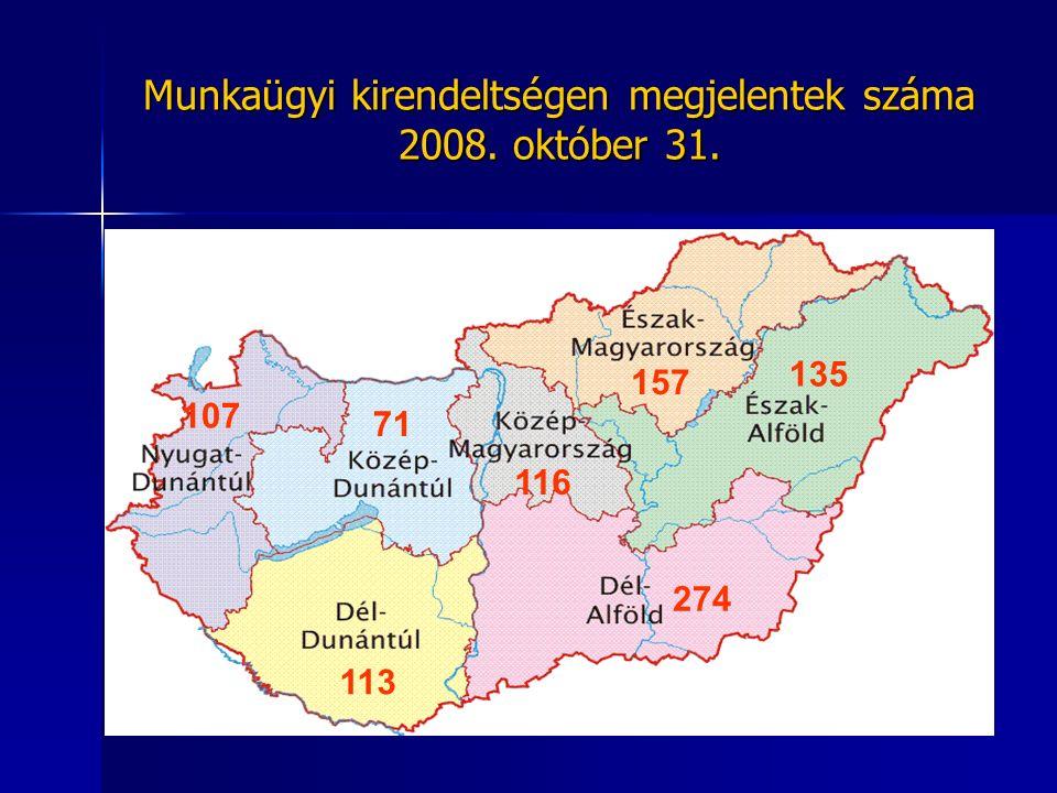 Munkaügyi kirendeltségen megjelentek száma 2008. október 31. 107 71 116 157 135 274 113