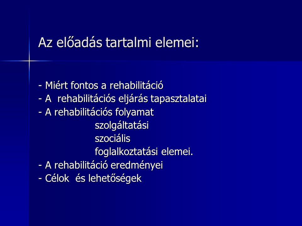 Az előadás tartalmi elemei: - Miért fontos a rehabilitáció - A rehabilitációs eljárás tapasztalatai - A rehabilitációs folyamat szolgáltatási szolgáltatási szociális szociális foglalkoztatási elemei.