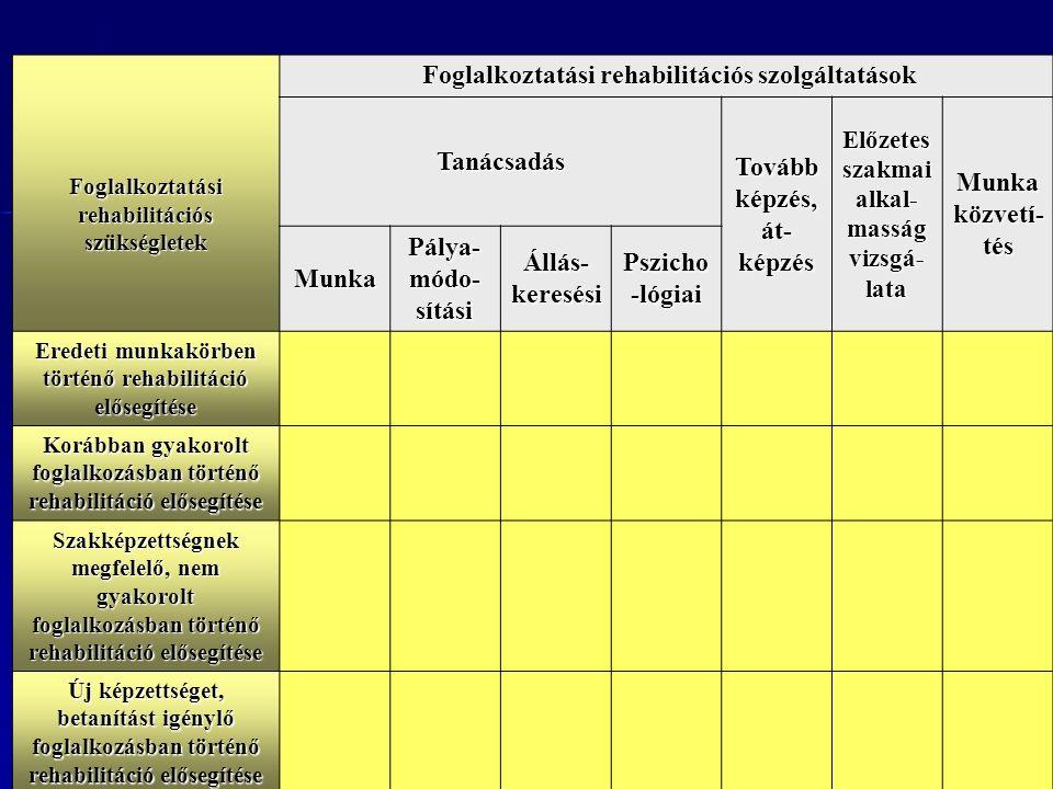 Foglalkoztatási rehabilitációs szükségletek Foglalkoztatási rehabilitációs szolgáltatások Foglalkoztatási rehabilitációs szolgáltatások Tanácsadás Tovább képzés, át- képzés Előzetes szakmai alkal- masság vizsgá- lata Munka közvetí- tés Munka Pálya- módo- sítási Állás- keresési Pszicho -lógiai Eredeti munkakörben történő rehabilitáció elősegítése Korábban gyakorolt foglalkozásban történő rehabilitáció elősegítése Szakképzettségnek megfelelő, nem gyakorolt foglalkozásban történő rehabilitáció elősegítése Új képzettséget, betanítást igénylő foglalkozásban történő rehabilitáció elősegítése